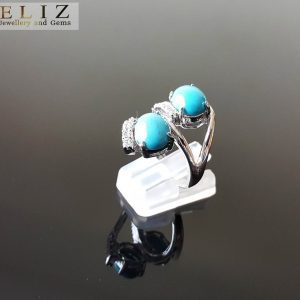 Sterling SIlver 925 Genuine ARIZONA TURQUOISE Ring Natural Gemstone Exclusive Design Handmade Size 7.5