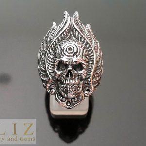 925 Sterling Silver Fire Chief Skull GOTH PUNK BIKER Ring 8.5' 9.5' 10.5'