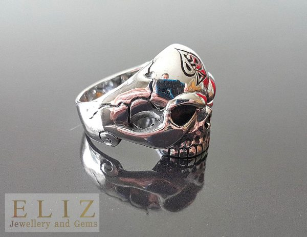 925 Serling Silver Lucky Number 13 Ace Of Spades half Jaw Skull Ring goth punk biker 10.3/4' 11.5'
