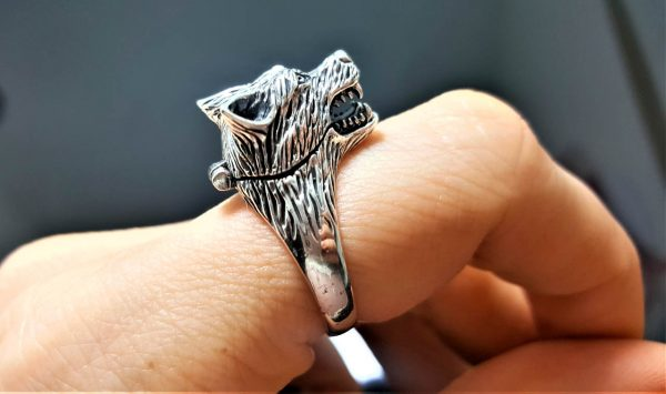 925 Sterling Silver Wolf Locket Ring Wolf Head Poison Locket Celtic Wolf Totem Talisman Amulet Secret Compartment