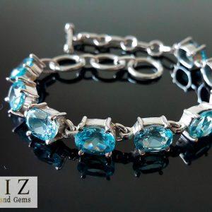 Eliz Sterling Silver 925 Genuine Sky Blue TOPAZ Bracelet Adjustable 7-7.5 inches Natural Gemstone