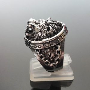 STERLING SILVER 925 Ring Chained LION Head Royal Power Leo King's Exclusive Gift Talisman