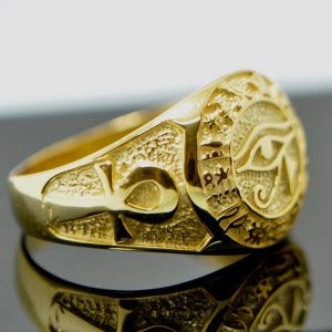 Eye of Horus Ring Egyptian Ankh Gold Plating Pure Solid 925 Sterling Silver Ring Talisman Amulet