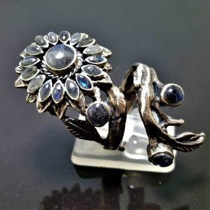 925 Sterling Silver Labradorite Ring Sun flower Genuine Gemstone Unique Sunflower Gift Adjustable Ring