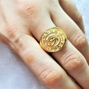 Eye of Horus Ring Egyptian Hieroglyphs Gold Plating Pure Solid 925 Sterling Silver Sacred Symbol Talisman Amulet