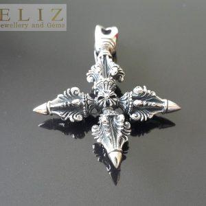 925 Sterling Silver Pendant 19.6 Grams Dorje Vajra Scepter Bell Talisman Exclusive Design