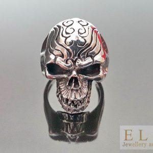 925 Sterling Silver Fangs Tribal Skull Rocker Punk Goth Biker Exclusive Ring