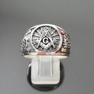 925 Sterling Silver MASTER MASON Ring Illuminati Masonic Symbols G letter Sacred Symbols ELIZ