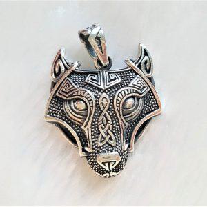 STERLING SILVER 925 Fenrir Wolf Pendant Celtic Amulet Viking Jewelry Scandinavian Talisman