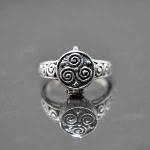 925 Sterling Silver Locket Tri Viking Poison Secret Compartment Locket Ring