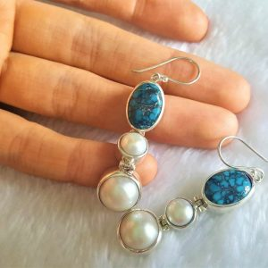Eliz STERLING SILVER 925 Natural Mobe PEARL & Turquoise Long Earrings Beauty Handmade Genuine Gemstones