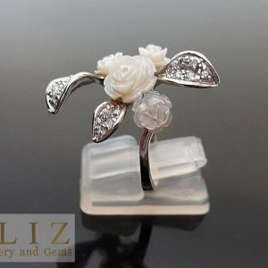 Sterling Silver RING Natural Carved Mother of Pearl Roses & CZ Custom Made Bouquet Exclusive Gift SIZE 8,9,10