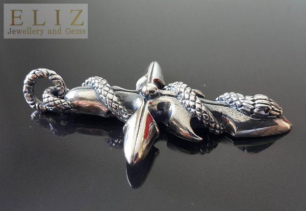 925 Sterling Silver Goth Cross Snake Wrap .925 Sterling Silver Punk Rock Biker 20 grams Talisman Exclusive Design