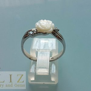 Sterling Silver RING Natural Carved Mother of Pearl Roses & Blue TOPAZ Custom Made Bouquet Exclusive Gift SIZE 6