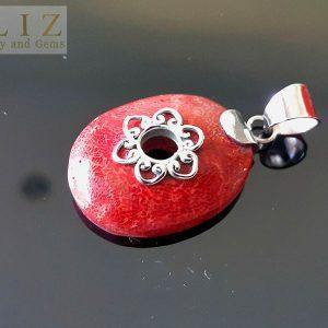 Eliz 925 Sterling Silver Balinese Genuine Red Coral Pendant Natural Talisman