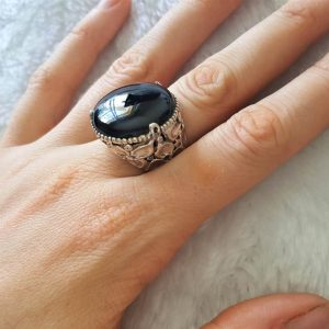 Sterling Silver 925 Handmade Ring Natural Black Onyx Unique Design Exclusive Gift Genuine Gemstone
