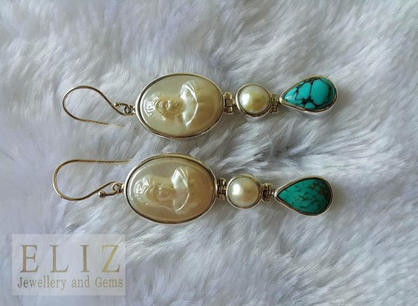 Eliz STERLING SILVER 925 Cameo Mother of Pearl Natural Turquoise Long Earrings Beauty Handmade