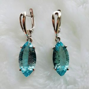 Eliz Sterling Silver 925 Earrings Blue Topaz Genuine Precious Gemstone Sparkling Concave Cut  Marquise Shape Exclusive Gift