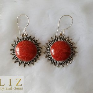Sterling Silver 925 Earrings Natural Red Coral SUN/Sunflower Stylish Custom Made Exclusive Gift