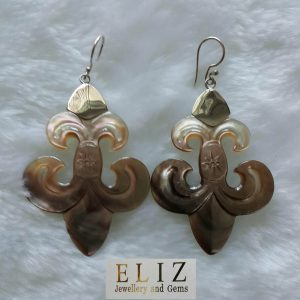 Eliz Mother of Pearl Fleur de Lis Carved Shell Sterling Silver Long Earrings Royal Lilies