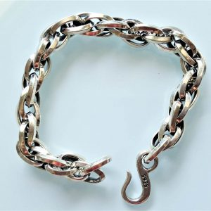 Eliz 925 Sterling Silver Chain Itallian Link Unique Bracelet Exclusive Design 8 Inches 36 Grams