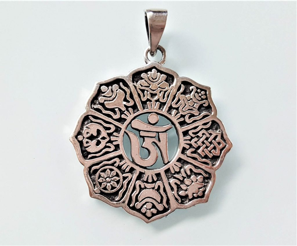 LOTUS Flower Sterling SILVER Pendant with MALACHITE Buddhism Buddhist Symbol Purity Body Mind Speech Talisman Charm Jewelry Jewellery Nature