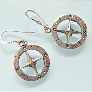 Eliz 925 Sterling Silver Compass Dual Sided Earrings Nautical Sun Dial Compass Talisman Amulet Good Luck