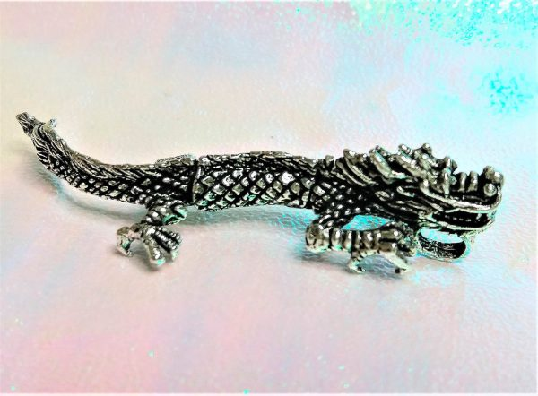 925 Sterling Silver Dragon Pendant Charm Movable Tail & Head Anceint Sacred Symbol Good Luck Talisman Amulet