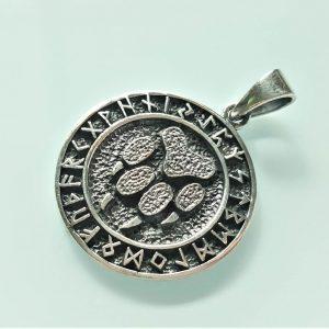 Eliz Sterling Silver 925 Pendant Runes Viking Bear Paw Claw Slavic Runic Sacred Symbol Warding Veles Talisman Amulet