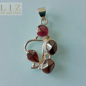 Sterling Silver Pendant Genuine GARNET Gemstone Exclusive Design