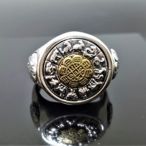 925 Sterling Silver Chinese Horoscope Zodiac Spinning Signet Ring Meditation Spinner Talisman Harmony Amulet Universe Cycles Eliz