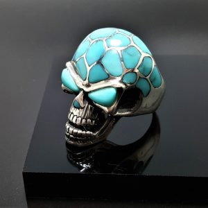 925 Sterling Silver Skull Natural Turquoise Skull Ring Heavy 26 grams ELIZ