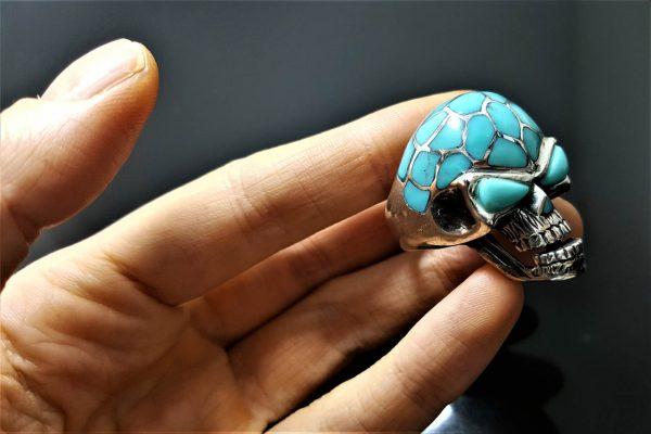 925 Sterling Silver Skull Natural Turquoise Skull Ring Heavy 26 grams ELIZ