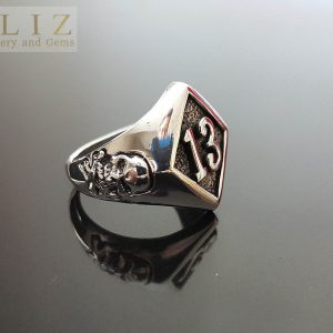 Sterling Silver .925 Ring Lucky number 13 with Skull and Bones Biker Exclusive Punk Rock Goth ELIZ