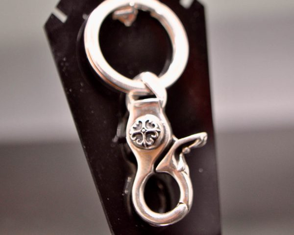 Eliz 925 Sterling Silver Gothic Cross Key Ring 28 Grams