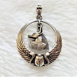 Eliz 925 Sterling Silver Pendant ANUBIS God Jackal-headed Scarab Snake Egyptian Ankh God Dog Sacred Symbol Talisman Amulet Handmade