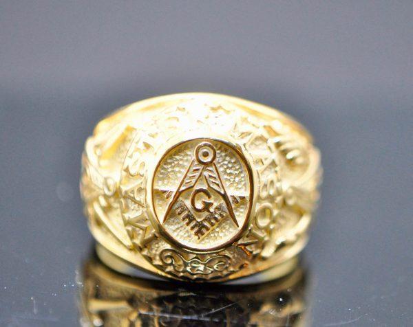Masonic 925 Sterling Silver Ring MASTER MASON  Square and Compasses Illuminati Masonic Sacred Symbols G Letter Geometry Mason Symbol Amulet Talisman 22K Gold Plating