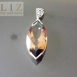 Sterling Silver 925 Large Genuine Smoky Quartz Marquise Pendant