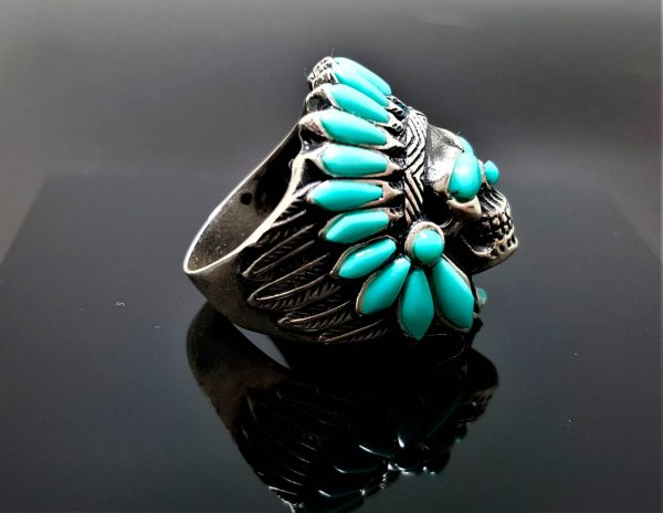 Sterling Silver 925 Skull American Indian Tribal Chief Warrior Natural TURQUOISE Ring Native American Spirit Amulet Talisman