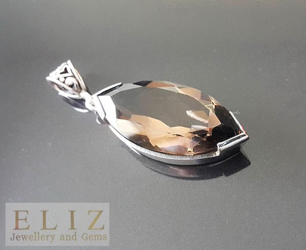Sterling Silver 925 Large Genuine Smoky Quartz Marquise Pendant
