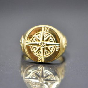 925 Sterling Silver Nautical Sun Dial Compass Crescent Moon punk goth biker rocker Ring 22K Gold Plating