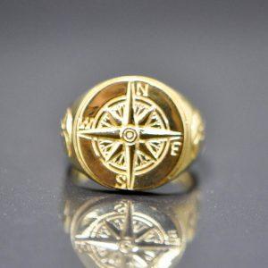 925 Sterling Silver Nautical Sun Dial Compass Crescent Moon punk goth biker rocker Ring 22K Gold Plating