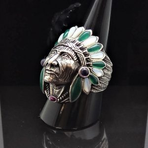 Sterling Silver 925 American Indian Chief Warrior Natural Mother of Pearl & Green Agate Ring Spirit Amulet Talisman Heavy 20 grams
