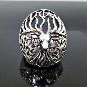 STERLING SILVER 925 Deer Ring Antler Totem Animal Unique Exclusive Gift